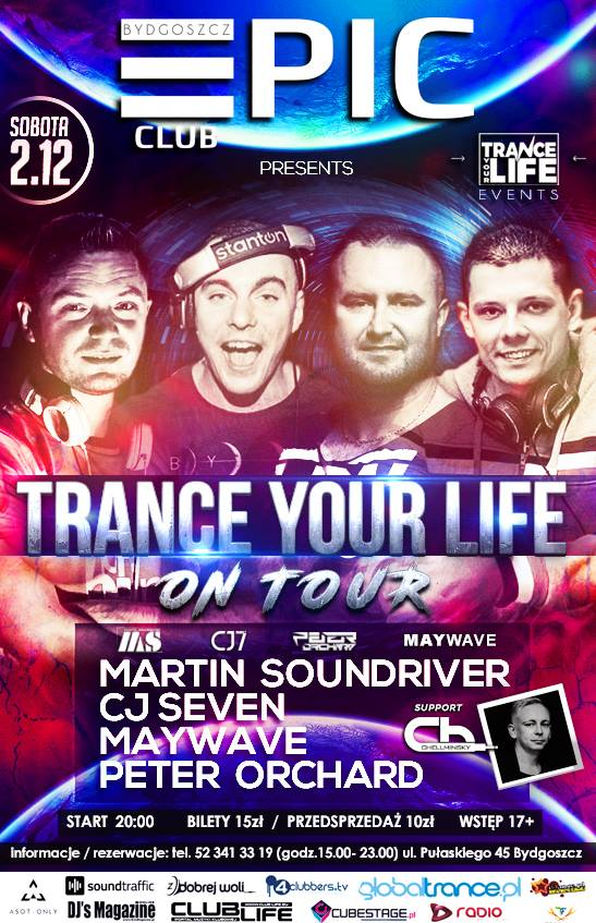 trance your life epic klub bydgoszcz impreza on tour bilety cena