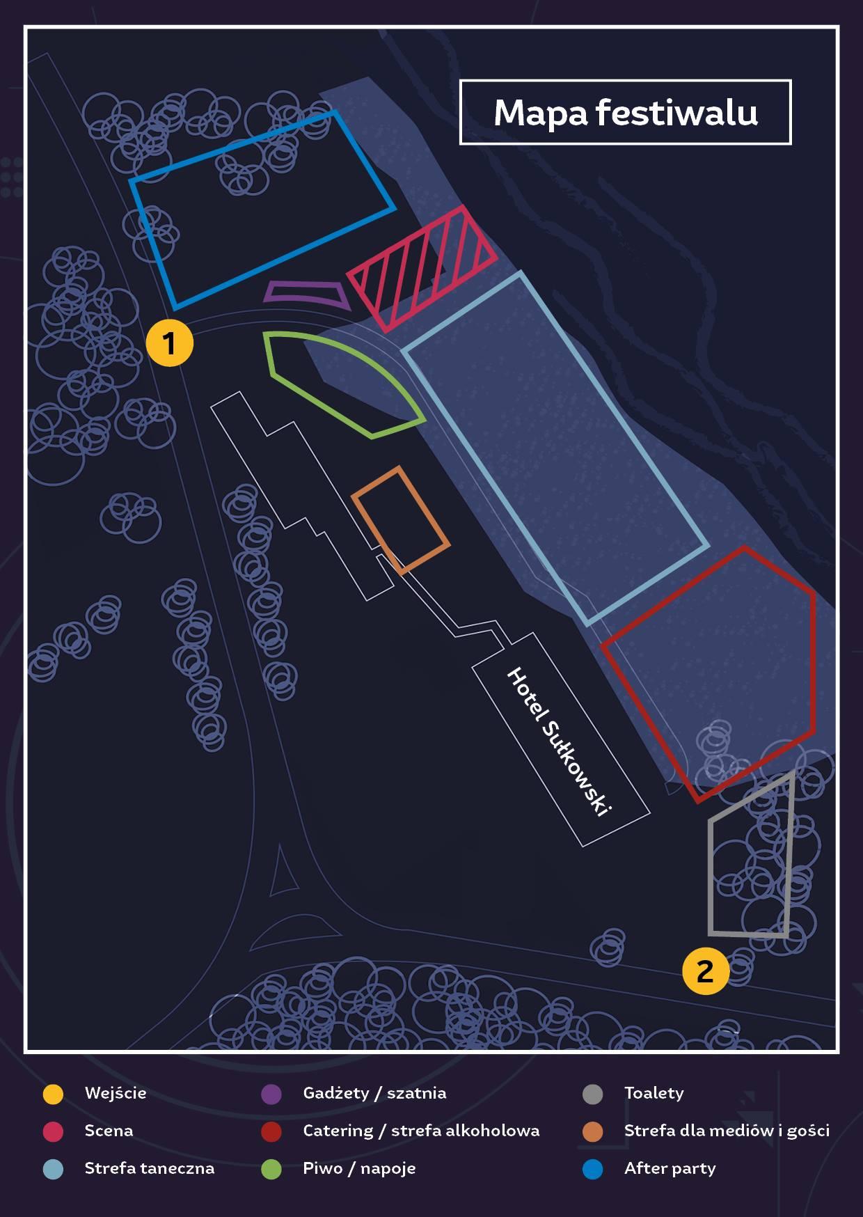 mapka wejscie otwarcie parking scena szatnia mapa euforia festiwal